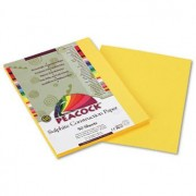 Peacock Sulphite Construction Paper, 76 lbs., 9 x 12, Yellow, 50 Sheets/Pack