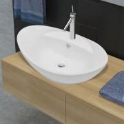 vidaXL Lavatório cerâmico oval branco com buraco para torneira