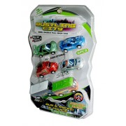 SCHOOL SPIRIT 5 PACK GIFT SET OF POLICE CAR ,RACING CAR , BUS, FIRE ENGINE ,PULL BACK TOYS