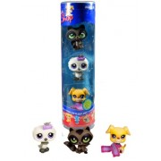"Hasbro Year 2007 Littlest Pet Shop Tube ""Winter Season"" Series 3 Pack Bobble Head Pet Figure Set #63441 Dark Grey Racoon (#450), White Baby Owl (#449) And Beige Boxer Puppy Dog (#451)"
