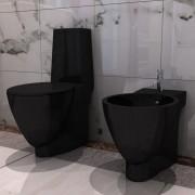vidaXL Conjunto de sanita e bidê, cerâmica, em preto