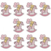 Magideal 10Pcs Wooden Pink Horse Carriage Embellishments Card Making Baby Shower