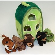Plush Forest Animal House with Animals - Five (5) Stuffed Forest Animals ( Brown Bear Black Bear Moose Frog Fox) in Play Forest Carrying House