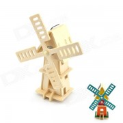 DIY Colored Drawing Solar Powered Windmill - Wood Color