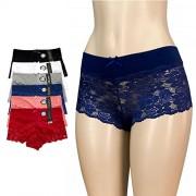 6pk Women's Cotton Spandex Hipster Boyshort Lace Trim Underwear Panties Sheer, Multi-color, Medium