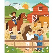 Petit Collage Tin Canister Jigsaw Floor Puzzle At The Ranch 64 Piece