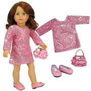 Pink Sequin Tunic Doll Dress Jeweled Purse & Glitter Doll Shoes Made by Sophias Fits 18 Inch Dolls & American Girl Dol