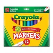 NEW - Non-Washable Markers, Broad Point, Classic Colors, 12/Set - 587712
