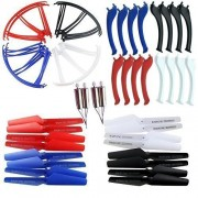 AVAWO Upgraded 4 Colors Syma X5SC X5SW Spare Parts Main Blade Propellers Motor Propeller Protectors Blades Frame Landing Skid Included Mounting Screws for RC Mini Quadcopter Toy