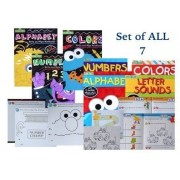 Sesame Street Set Of 7 Preschool Activity Workbook Activity Work Books, Learn; Colors, Numbers, Alphabet, Letters & Sounds, & Coloring Books. Pre K, Toddlers,Color,Paint,Write,Circle,Trace,Count.