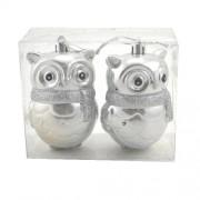 Globuri pentru brad in forma de bufnite argintii
