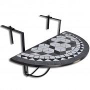 vidaXL Mosaico Balcone tabella d'attaccatura semicircolare Nero Bianca