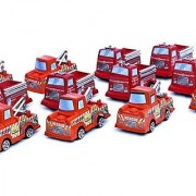 Dazzling Toys Pull Back and Release Truck Set - 6 Red Firetrucks and 6 Orange Tow Trucks