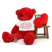 Red 5 feet Big Teddy Bear wearing a Happy Anniversary T-shirt