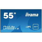 iiyama ProLite LH5581S-B1 55' Super Slim, 1920x1080, IPS panel, 6,5mm bezel width, DP, DVI, 2xHDMI, Video, USB Media, Speakers, 500 cd/m², 1300:1 Static Contrast, 8ms