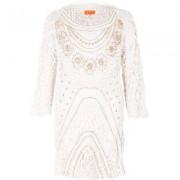 River Island Womens White crochet embellished beach dress