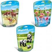 PLAYMOBIL City Life Zoo Set de 3-partes 6651 6652 6643 banco de flamencos + dos pandas con bebé + dos okapi con bebé