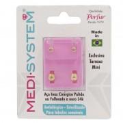 Brincos Medi System Infantil Rosa Dourado Ref-2101