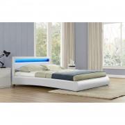 Le Romantique Blanc : Cadre de Lit LED en simili et sommier 160 x 200 cm