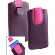 Emartbuy Purple / Pink Plain Premium PU Leather Slide in Pouch Case Cover Sleeve Holder ( Size LM2 ) With Pull Tab Mechanism Suitable For Lava A76