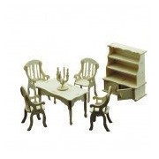 Dolls House Dining Room Furniture Kit 1:12 Scale Age 6+
