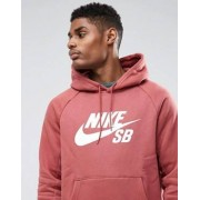 Nike SB Icon Logo Overhead Hoodie In Red 846886-637 - Red