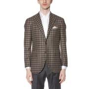 【60%OFF】LORO PIANA チェック柄 テーラードジャケット ブラウンギンガムチェック 44b ファッション > メンズウエア~~スーツ