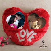 Lovely Heart Shaped Dual Photo Personalized Red Cushion