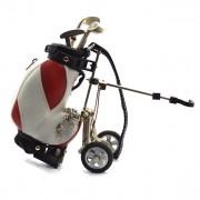 Ceas pentru birou cu echipament de golf pe roti