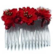 Peineta con flores en color rojo