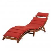 Ligstoel Ipanema - massief eucalyptushout/rood textiel, Merxx