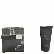 Salvatore Ferragamo F Black Eau De Toilette Spray 3.4 oz / 100.55 mL + Shower Gel 2.5 oz / 74 mL + Free Travel Pouch 501169