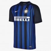 Nike Partes De Arriba Manga Corta 2017/18 Inter Milan Stadium Home Negro,Azul royal,Blanco