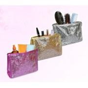 Pochette SHINE glitterata da viaggio per make up impermeabile con chiusura a zip