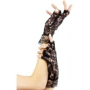 1980'S Short Fingerless Black Lace Gloves