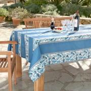 Abwaschbare Oliven Tischwäsche, 160 cm Durchmesser, Blau/Weiss