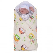 Sevira Kids - Gigoteuse d'emmaillotage Multi-Usage en 100% coton - Nid d'ange naissance - Fantaisie Hiboux Beige