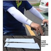 New High Cool 1Pair Arm Sleeves Cooling UV Sun Protect Golf Cycling 1 Set WHITE