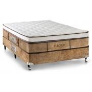 Conjunto Box Colchão Castor Molas Pocket Eurotop Supreme + Cama Box Courino White - Conjunto Box Solteiro - 088 x 188