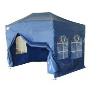 Partytent PVC Easy Up 3 x 4,5 meter HEX met zijwanden in Blauw