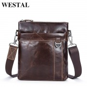 WESTAL Genuine Leather Men Bag Fashion Men's Messenger Bags Male flap cowhide Leather bag shoulder Crossbody bags Handbags 9010