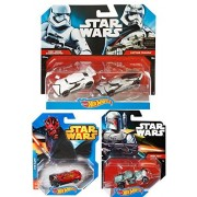 Star Wars Hot Wheels First Order Stormtrooper Vs. Captain Phasma Vs The Dark Side Darth Maul & Boba Fett Star Wars Character Car Racers