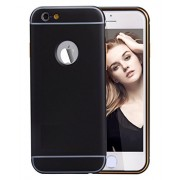 DMG Perfect Fit Metal Frame + PC Back Cover Bumper Armor Scratch Resist Metallic Heavy Duty Hard Protection Case for Apple Iphone 6 4.7 (Black)