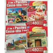 Bundle Lot of Two 2 in 1 Puzzles for a Total of Four Puzzles! Applelane Farms, Marshmallow Jelly Cake with Berries and Fruit Punch ~ Pheasant Country, Rosseau General Store 960 Total Puzzle Pieces!