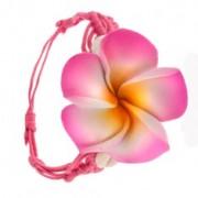 Sugárzó rózsaszín zsinóros fonott karkötő, virág és két kagyló