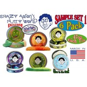 "Crazy Aarons Thinking Putty Mini Tin Gift Set Bundle (Sample Set 1) With Super Scarab, Sunburst, Ion, Super Oil Slick, Chameleon & Exclusive ""Lizard Lips"" Hypercolor 6 Pack"
