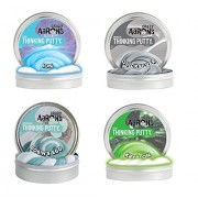 """Crazy Aaron's Thinking Putty 4"""" - Ion - Super Magnetic Quicksilver - Robin's Egg - Krypton Glow in The Dark"""
