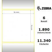 Zebra Z-Select 2000T - Etichette in carta patinata di colore bianco, formato 76 x 76 mm.