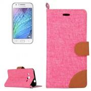 Denim Texture Horizontal Flip Leather Case with Holder & Card Slots for Samsung Galaxy J2 / J200(Magenta)