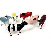 Animal World Toy Farm Animals Figures Large Size 6 piece Assorted Styles Sheep Horse Goat Cow Buffalo and Pig